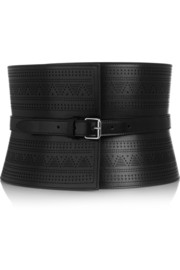 Laser-cut leather belt