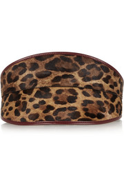 Leather-trimmed leopard-print calf hair waist belt