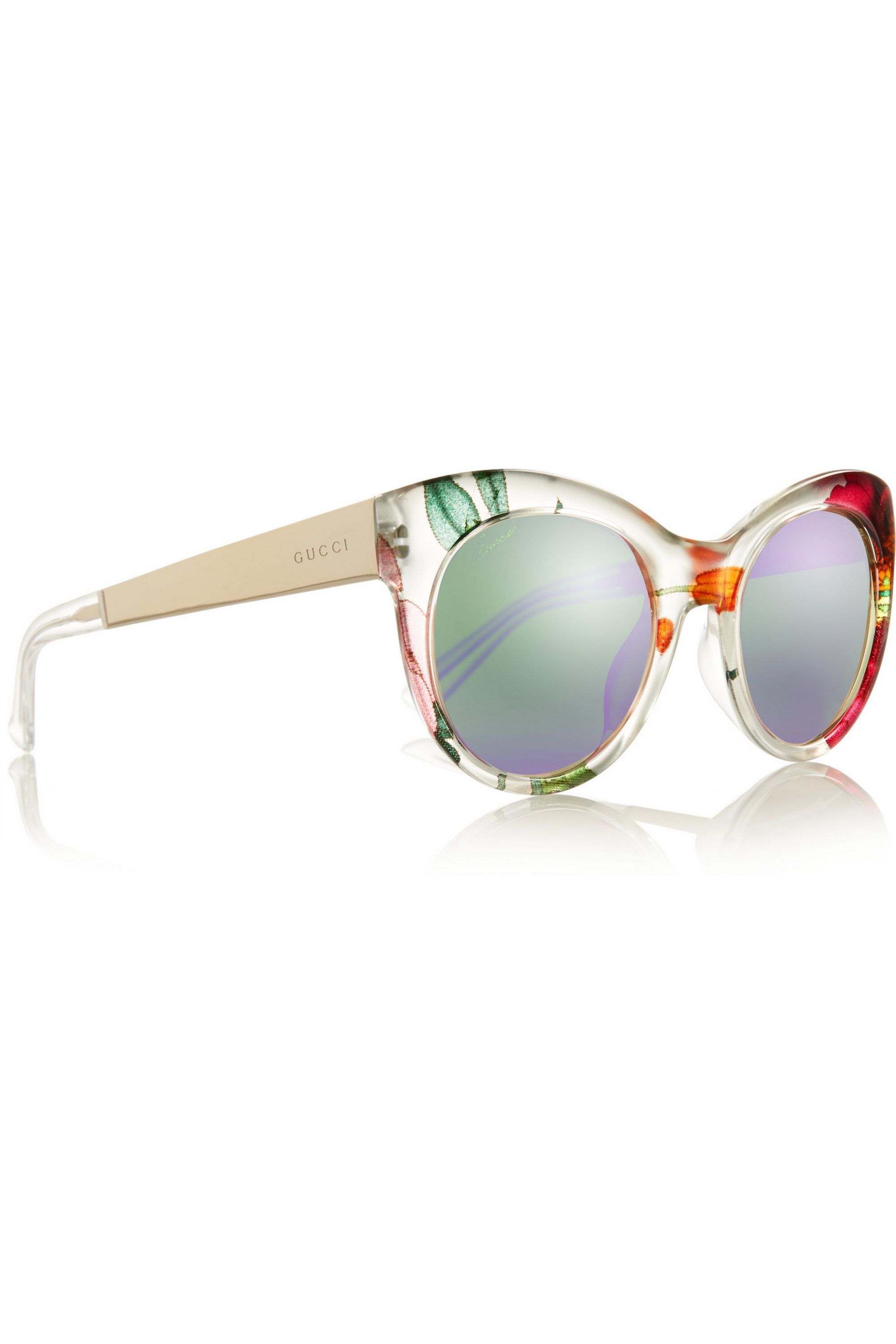 Gucci Cat-eye printed acetate and metal mirrored sunglasses