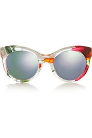 Cat-eye printed acetate and metal mirrored sunglasses