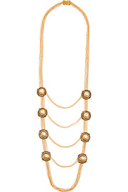 Gold-tone, faux pearl and Swarovski crystal necklace