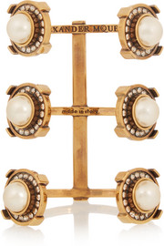 Alexander McQueen Gold-tone, faux pearl and crystal cuff