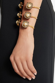Gold-tone, faux pearl and crystal cuff