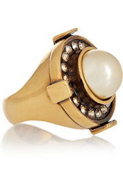 Gold-tone, Swarovksi crystal and faux pearl ring