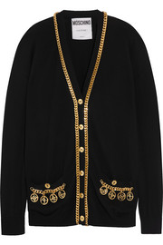 Chain-embellished wool cardigan