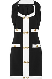 Embellished two-tone stretch-ponte mini dress