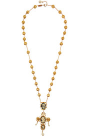 Cameo gold-plated, Swarovski crystal and resin necklace