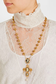 Dolce & Gabbana Cameo gold-plated, Swarovski crystal and resin necklace