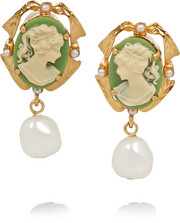 Cameo gold-plated, faux pearl and resin clip earrings