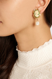Dolce & Gabbana Cameo gold-plated, faux pearl and resin clip earrings