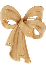 Bow gold-plated brooch