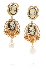 Cameo gold-plated faux pearl clip earrings