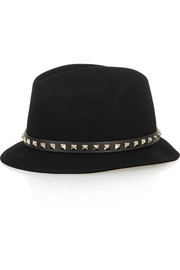 Studded leather-trimmed angora-felt fedora