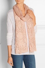 Lace-paneled modal and cashmere-blend gauze scarf