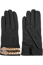 Rockstud leather gloves
