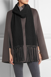 Leather-trimmed cashmere scarf
