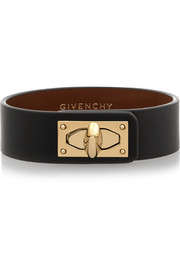Givenchy Shark Lock bracelet in black leather