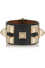 Studded bracelet in gold-tone and black textured-leather