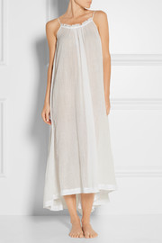 Asymmetric cotton-gauze nightdress