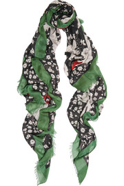 Floral-print modal and cashmere-blend scarf