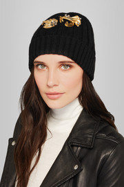 Embellished ribbed cashmere beanie