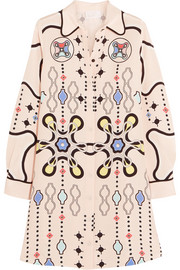 Ace printed silk-crepe mini dress