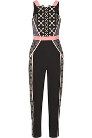 Atom embroidered crepe jumpsuit