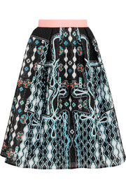 Circle printed cloqué skirt