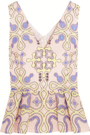 Peter Pilotto Printed cloqué peplum top