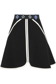 Dice embellished stretch-crepe mini skirt