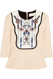 Peter Pilotto Atari embellished crepe peplum top