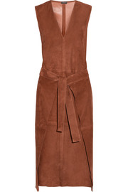 Max wrap-effect suede dress