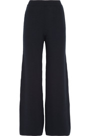 Ribbed-knit merino wool wide-leg pants
