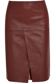 Saar wrap-effect leather skirt
