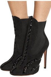 Patent leather-paneled suede ankle boots
