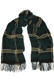 Carlton checked wool-blend scarf