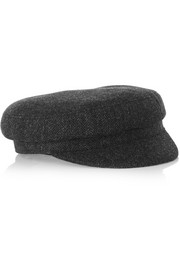 Evie herringbone wool-blend tweed flat cap