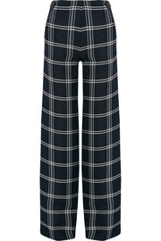 Plaid basketweave wide-leg pants