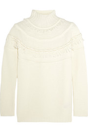 Fringed wool and cashmere-blend turtleneck sweater