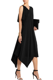 Draped silk crepe de chine dress