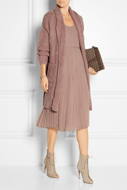 Linen-paneled pleated silk-chiffon dress