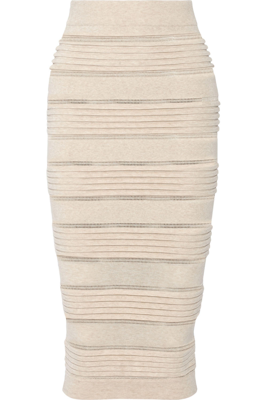 Burberry Rib-paneled stretch-knit skirt