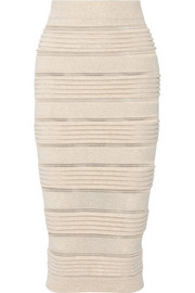 Rib-paneled stretch-knit skirt