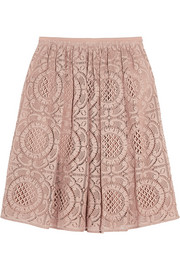 Cotton-blend lace skirt