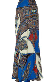Printed silk maxi skirt