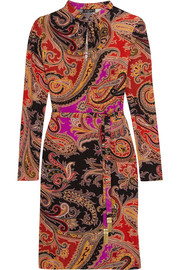 Printed silk-blend jersey dress