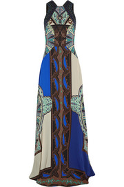 Embellished printed silk-georgette gown