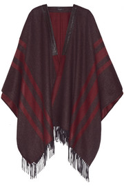 Leather-trimmed cashmere cape