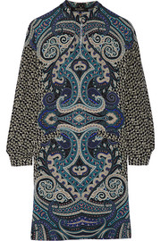 Printed wool-crepe dress