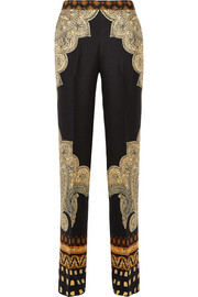 Printed silk-cloqué wide-leg pants